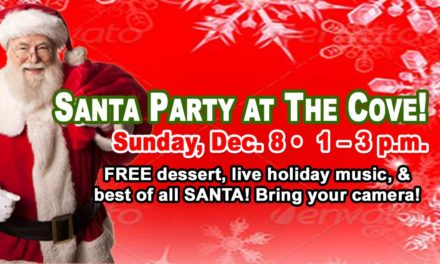The annual, FREE Santa Party will be Sunday, Dec. 8 at Normandy Park Cove!