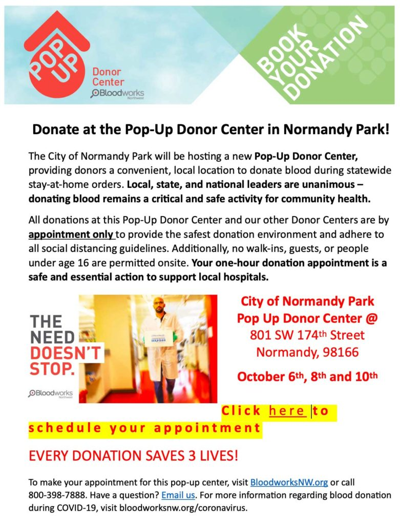 REMINDER: Donors needed for Pop-Up Blood Center this week at Normandy Park City Hall 1