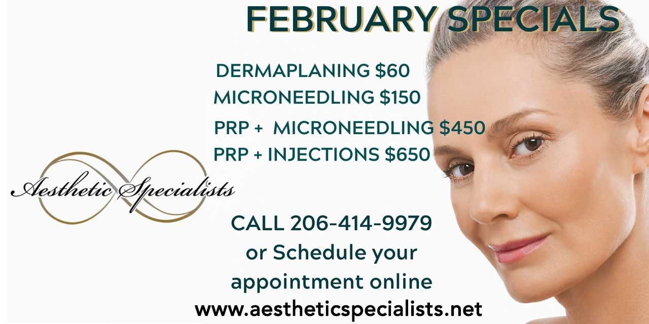 Save up to $300 on February specials featuring PRP to boost results at Aesthetic Specialists